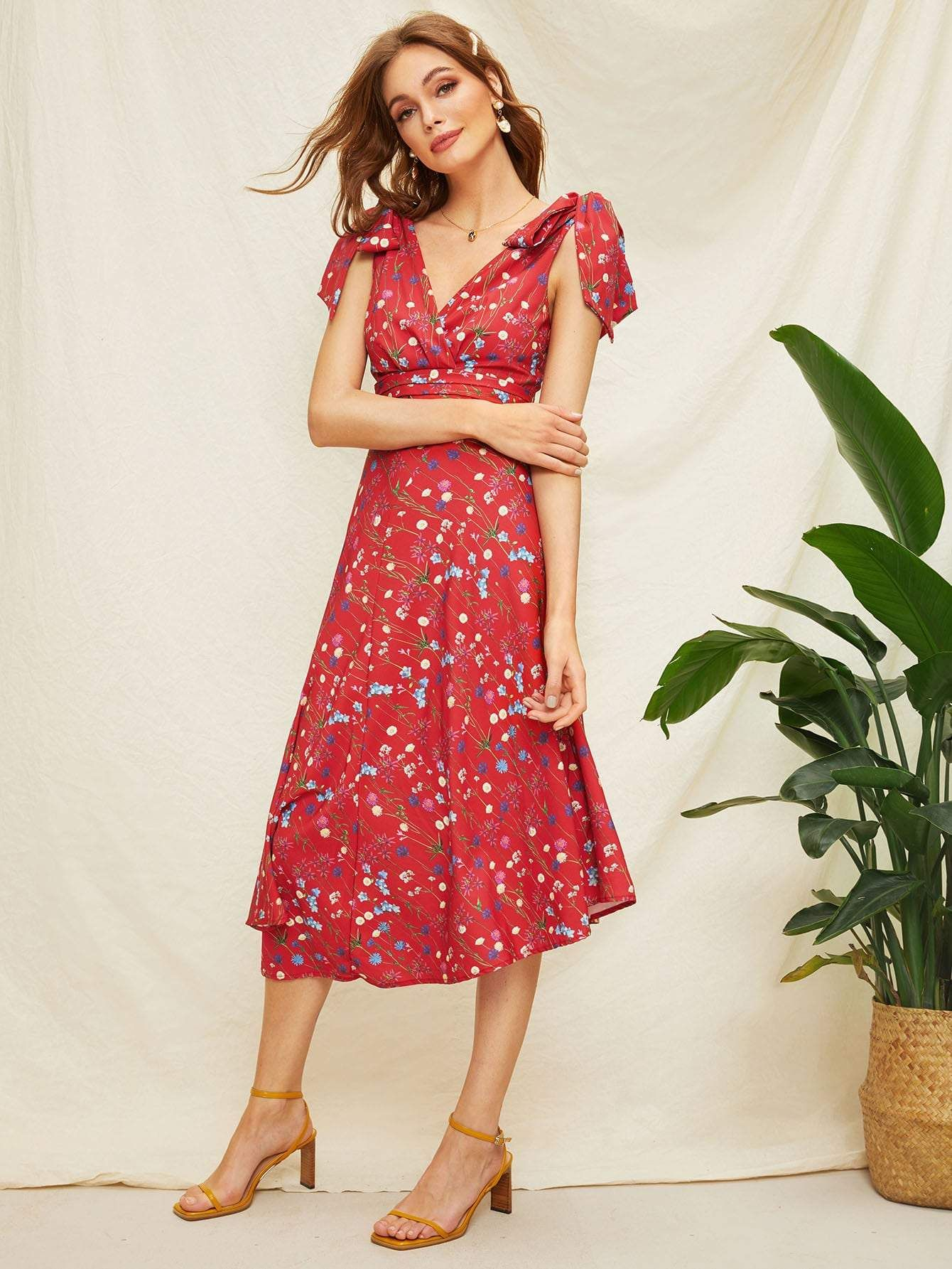 459f6c38f Knot Detail Floral Print Asymmetric Hem Summer Boho Maxi Dress - Popviva # summer #year