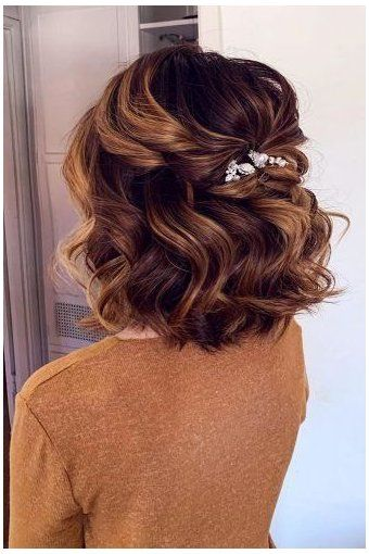 short wedding hair bob half up