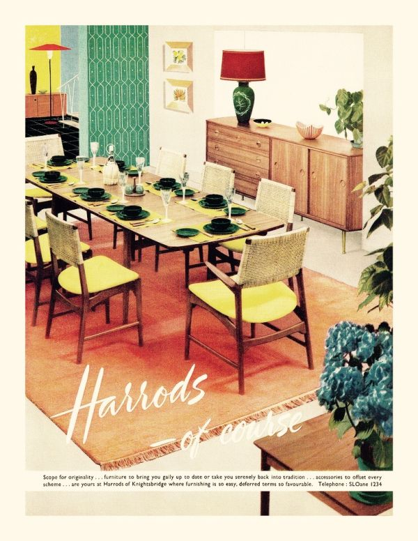 old ad from 1956 for harrods mid-century modern furniture. #1950s