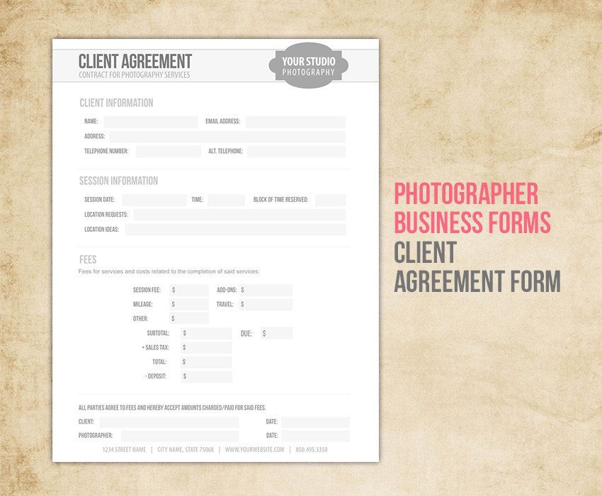 Photography Business Forms - Client Agreement Contract Form for