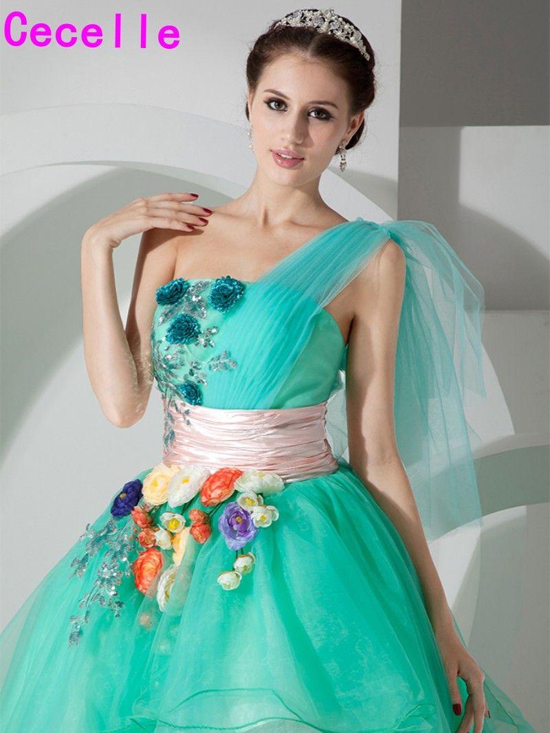 2017 Juniors Short High Low Mint Prom Dresses One Shoulder Flowers ...