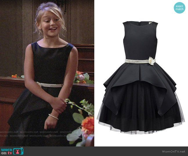 3212adaeaa0 Faith s black dress at Sharon s wedding on The Young and the Restless.  Outfit Details