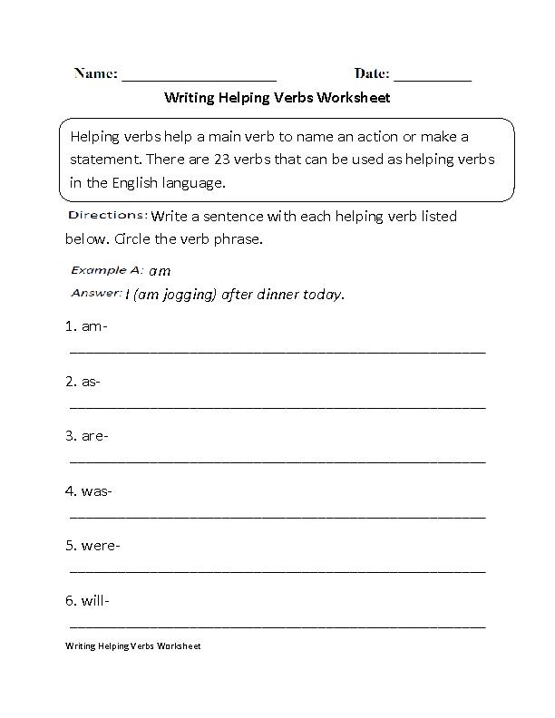 Writing Helping Verbs Worksheet English Pinterest