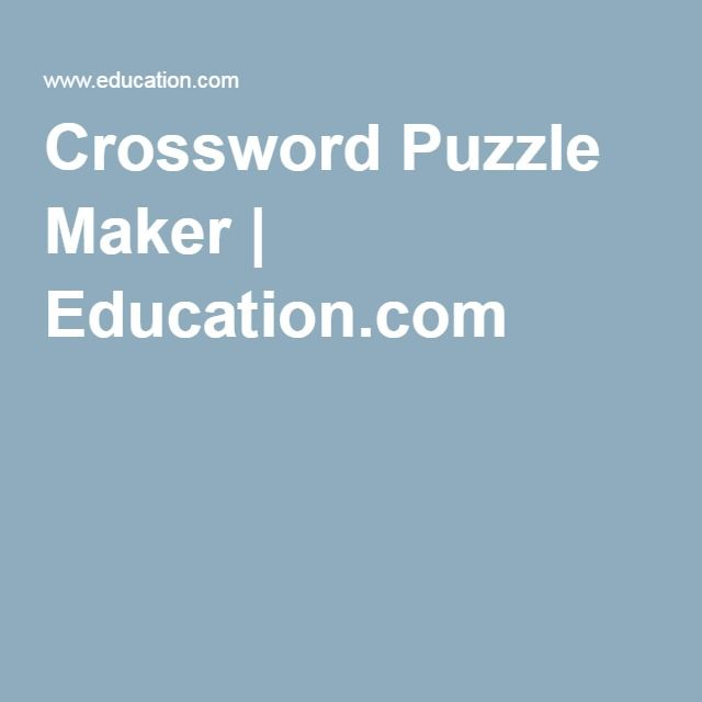 Crossword Puzzle Maker Educationcom Gifts Crossword Puzzle