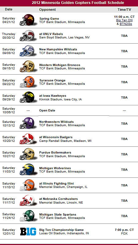 Minnesota Golden Gophers Football Team 2012 Schedule Penn State Nittany Lions Football Michigan State Spartans Football Minnesota Golden Gophers Football