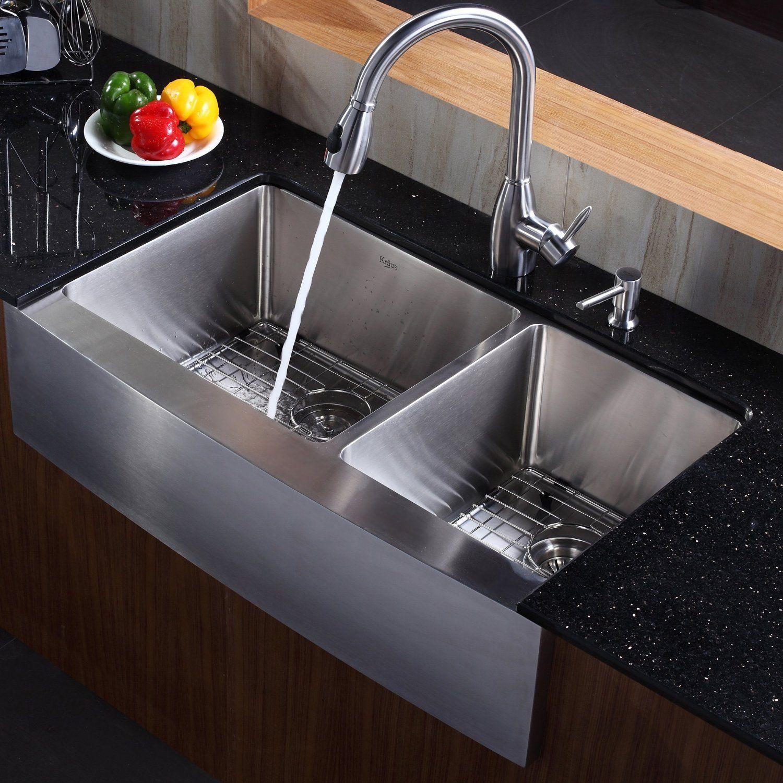 Kraus 36 Inch Farmhouse Apron 60 40 Double Bowl 16 Gauge Stainless Steel Kitchen Sink Kitchen Sink Design Stainless Steel Farmhouse Sink Modern Kitchen Sinks