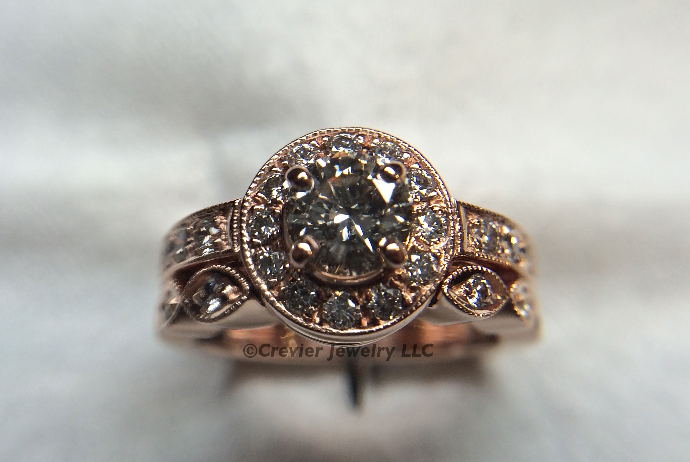Rose gold engagement ring and wedding band crevier jewelry