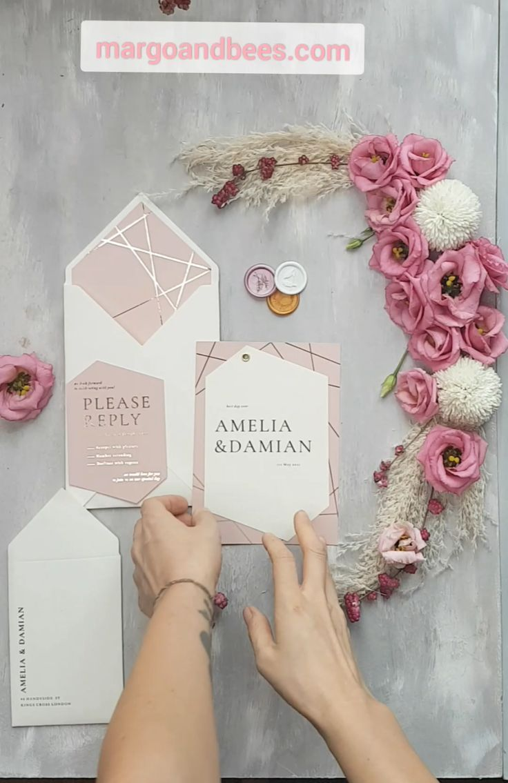 Gold and pink geometric wedding invitationsgeometric