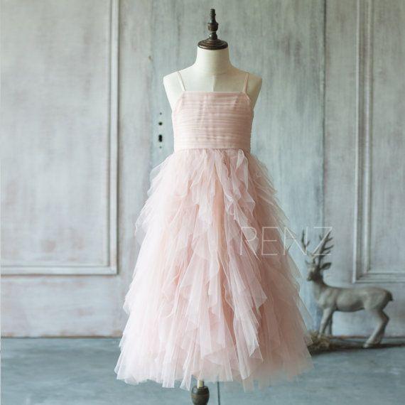 db024b479ab Junior Bridesmaid Dress Blush Pink Flower Girl Dress Ruffle ...