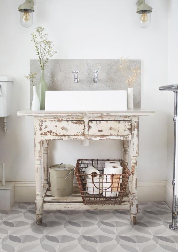 U0027Leafu0027 Grey Encaustic Tiles By Lindsey Lang   Shabby Chic   Bathroom    London   By Lindsey Lang Design Ltd