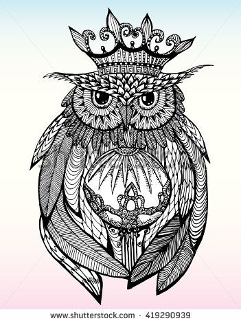 Owl With A Crown Portrait Of An Owl Owls Head Abstract Bird Print Profile Decorative Stylized Owls Drawing Owl Coloring Pages Architecture Drawing Art