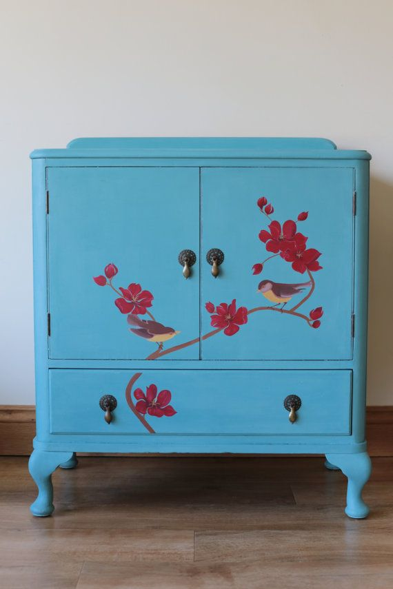 Large Hand Painted Red Flower & Bird Cabinet