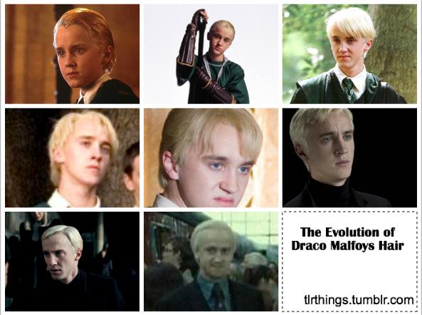 The evolution of Draco Malfoy's hair | Harry Potter | Draco malfoy