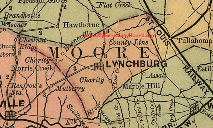 Moore County, Tennessee 1888 Map Lynchburg, Charity, Booneville ...