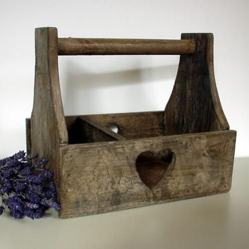 Reclaimed Wood Heart Trug £12.50