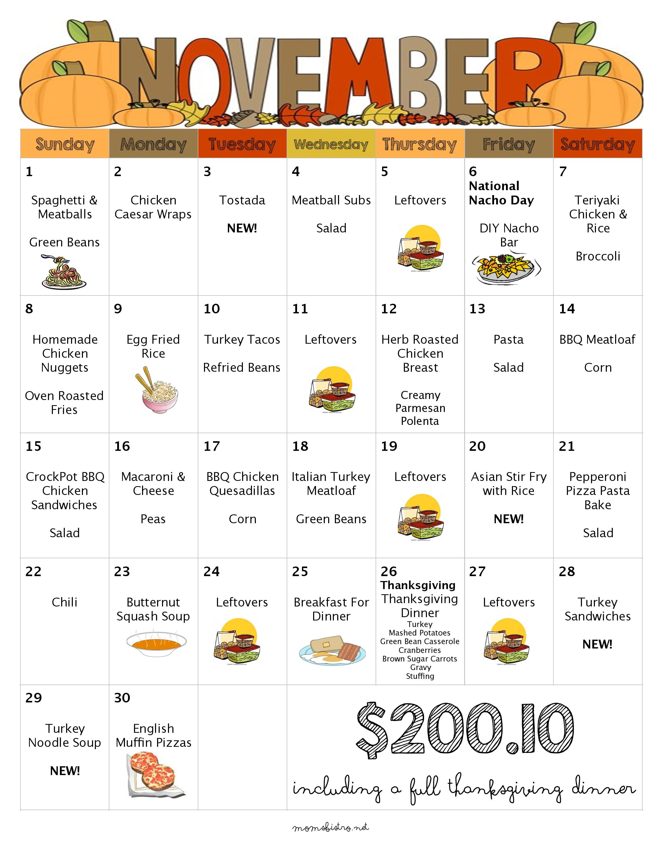 Free money saving weekly meal plans printable plans with family - November Menu Free Printable Grocery List Thanksgiving Dinner Leftovers Kid Friendly Recipes Weekly Grocery List