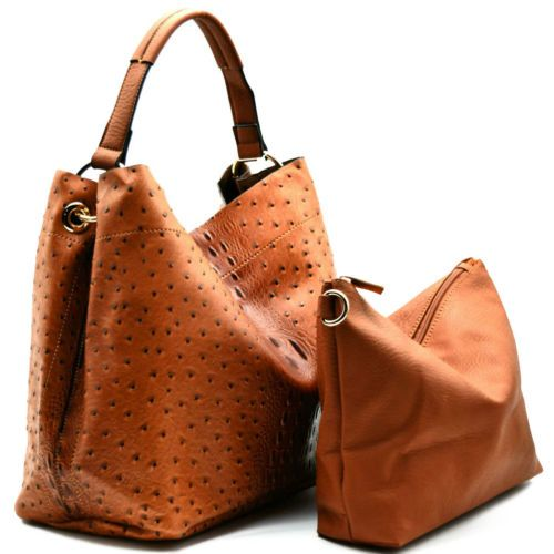 Handbag Republic Ostrich Embossed Tote W Inner Bag Crossbody Brown