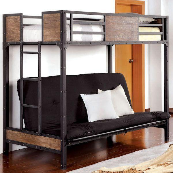 Relyn Wood Panel Metal Twin Futon Loft Bed