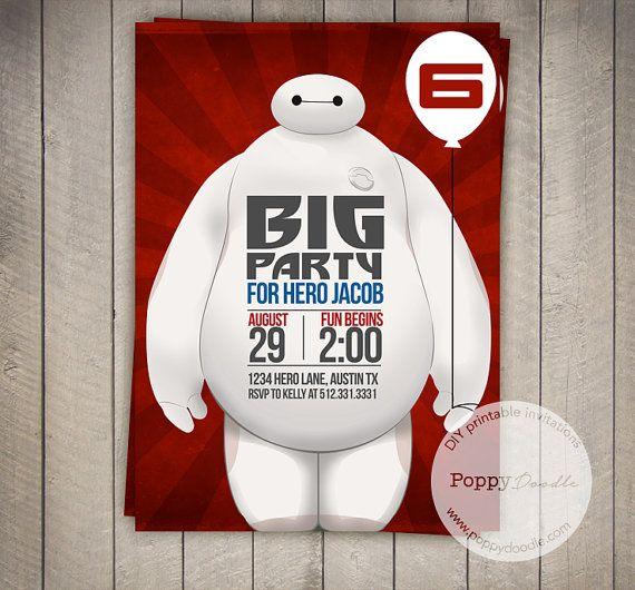 Big Hero 6 Baymax Custom Printable Birthday Invitation