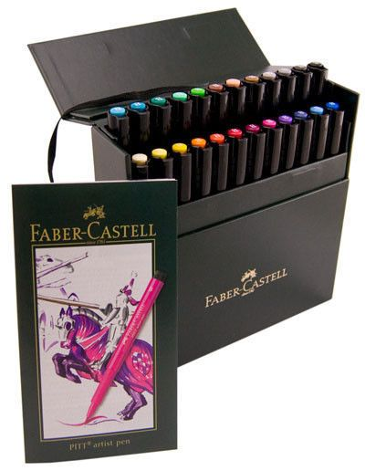 Faber Castell 24 Pitt Artist Pen Markers Brush Tip Pigmented