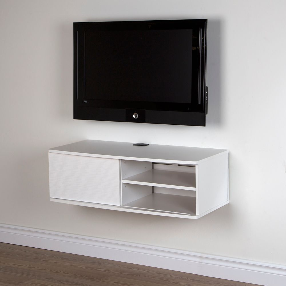 Agora 38 Inch Wide Wall Mounted Media Console Pure White