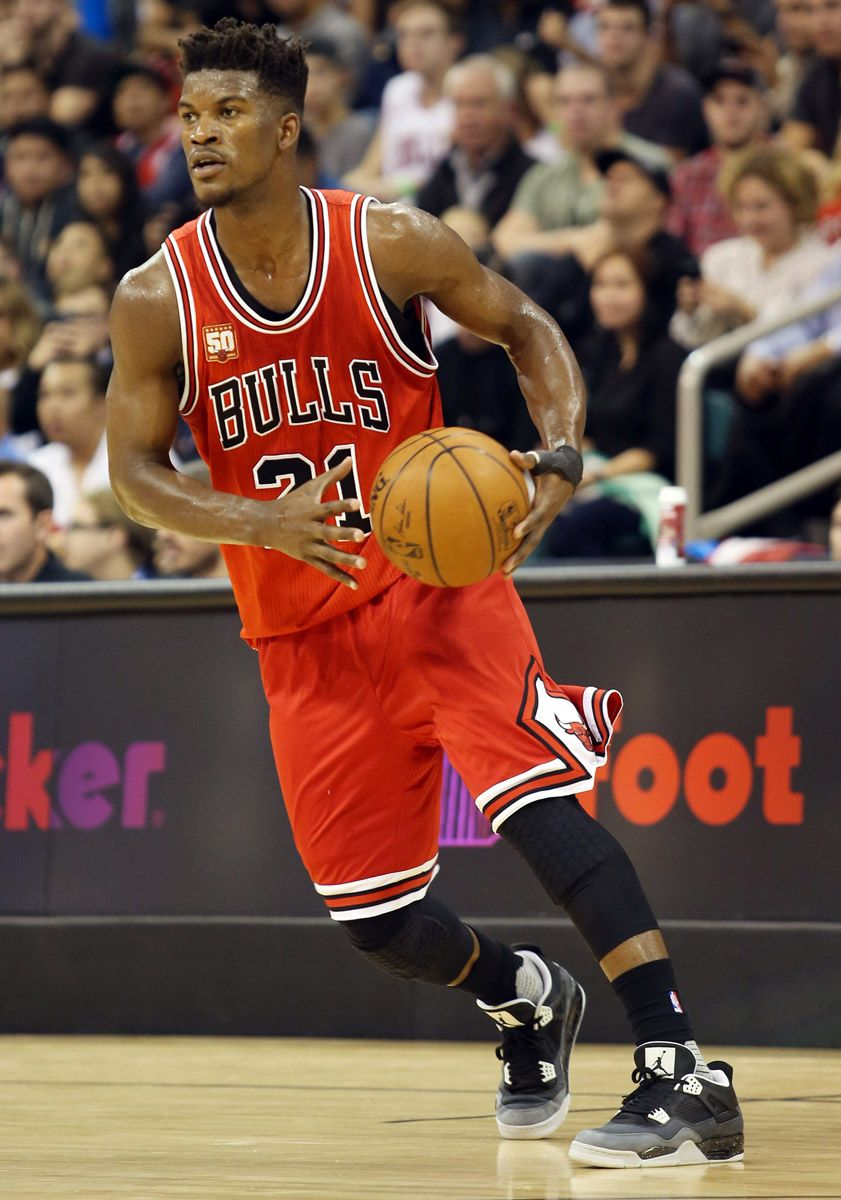aec4913eecfca2 Jimmy Butler wearing the  Fear  Air Jordan 4 (1)