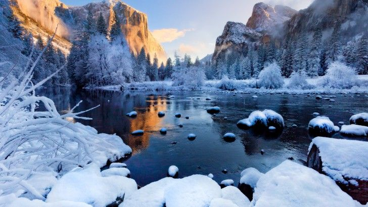 Fondo Escritorio Montañas Nevadas: Yosemite National Park Nieve