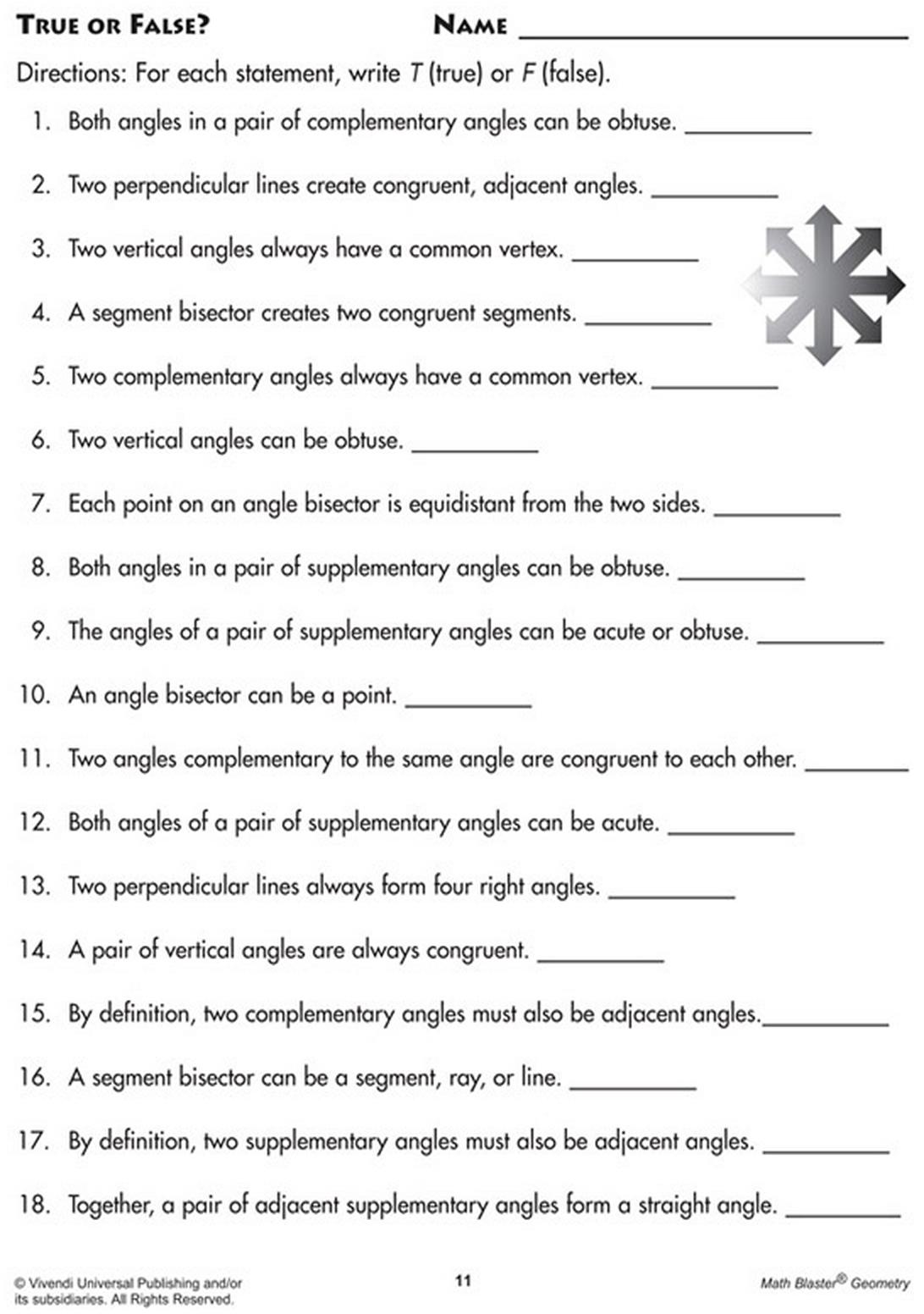 A math true or false practice sheet on geometric angles. | Printable ...