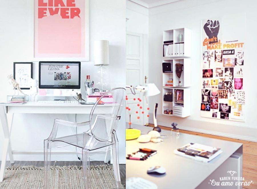 escritorio feminino 05 3 Casas, decorações e plantas baixas Decoraç u00e3o de escritório feminino  -> Decoraçao De Escritorio Feminino