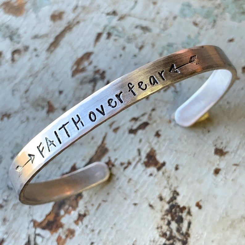 Faith Conquers Fear Hand Stamped Brass Cuff Positivity Reminder Bracelet