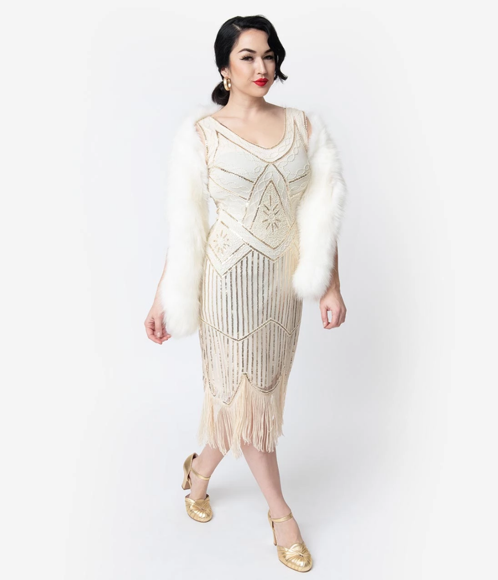 Cream & Gold Beaded Leonie Fringe Flapper Dress in 2020