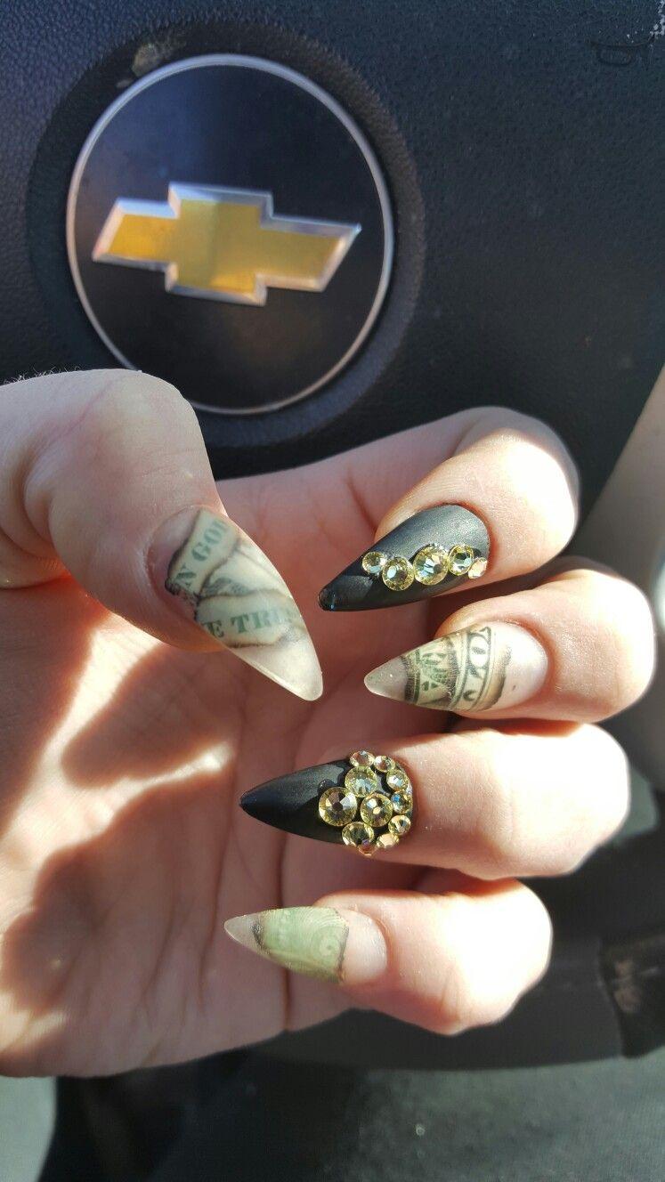 Encapsulated Money Acrylic Nails Acrylic Nails Nails Class Ring