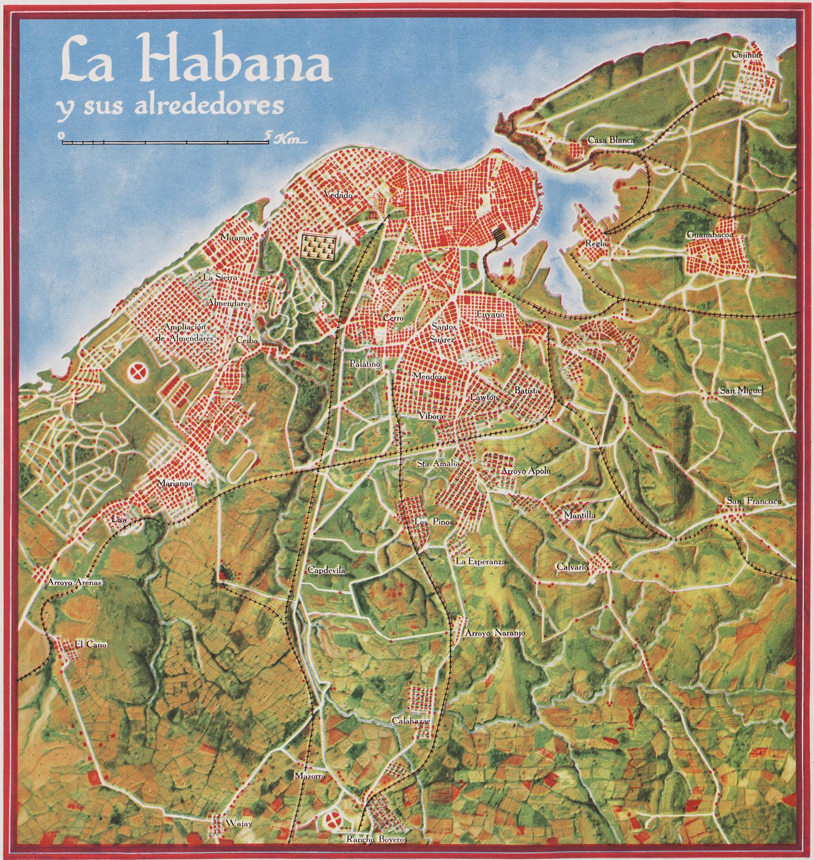 Plano La Habana 1949 Gerardo Canet Erwin Raisz mapa de los