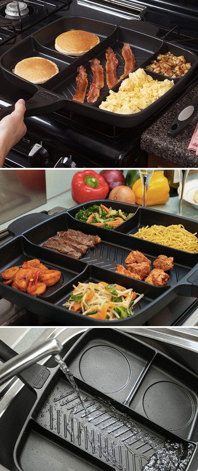 Cook 5 courses. Wash 1 pan. Make a full meal with minimal, one-pan cleanup. The MasterPan is a sectioned frying pan that lets you cook five different foods at once.