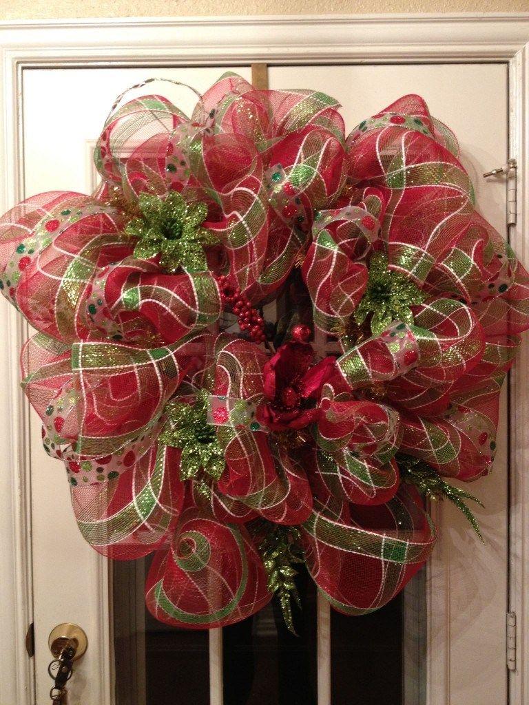 DIY Deco Mesh Christmas Wreath Christmas mesh wreaths