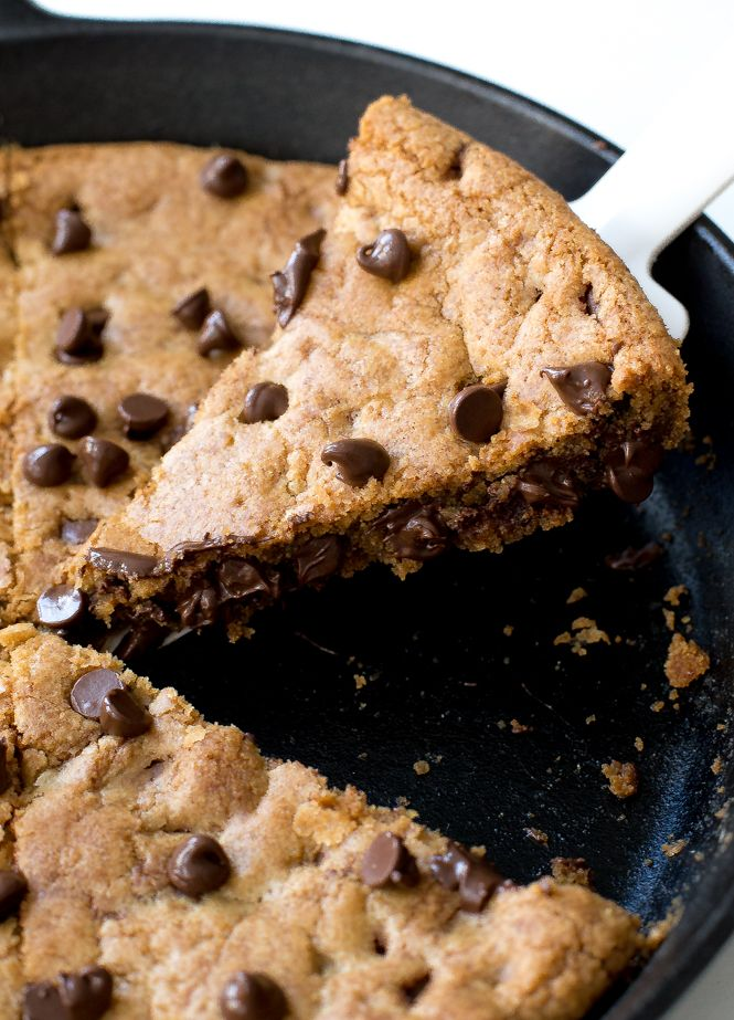 The BEST Brown Butter Chocolate Chip Skillet Cookie. This giant cookie is firm around the edges and soft and gooey in the center. Ready in only 30 minutes!