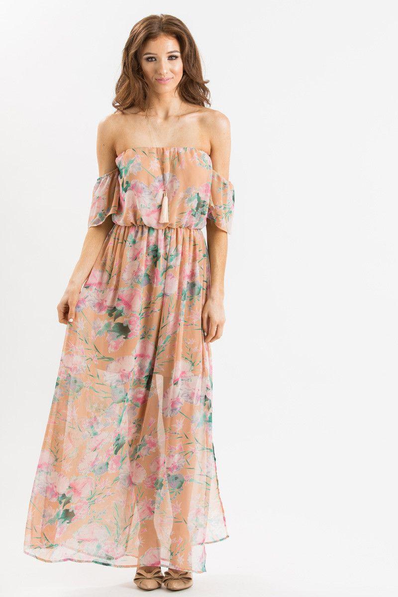 Karina Peach Floral Off The Shoulder Maxi Dress Dresses Flowy Bridesmaid Dresses Casual Dresses [ 1200 x 800 Pixel ]
