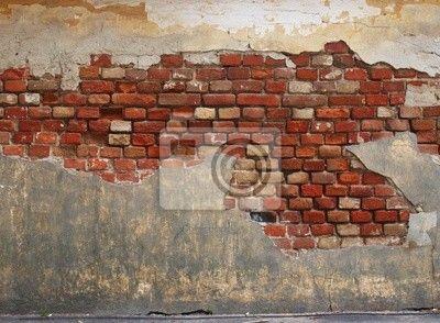 Fotobehang ruïneren, oud, steen - stone wall of the old brick and plaster ▪ Ons leven vereist aanhoudende veranderingen. Laat je niet vervelen en verander je interieur in een handomdraai!