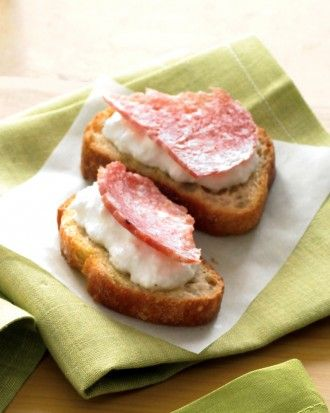 """See the """"Salami-Ricotta Crostini"""" in our Crostini and Bruschetta Recipes gallery - easy and tasty"""