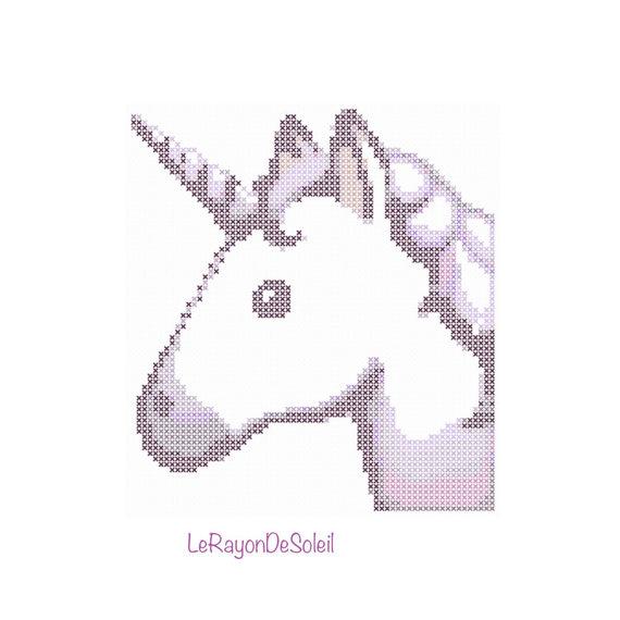 Modern cross stitch pattern unicorn emoji iPhone PDF instant ...