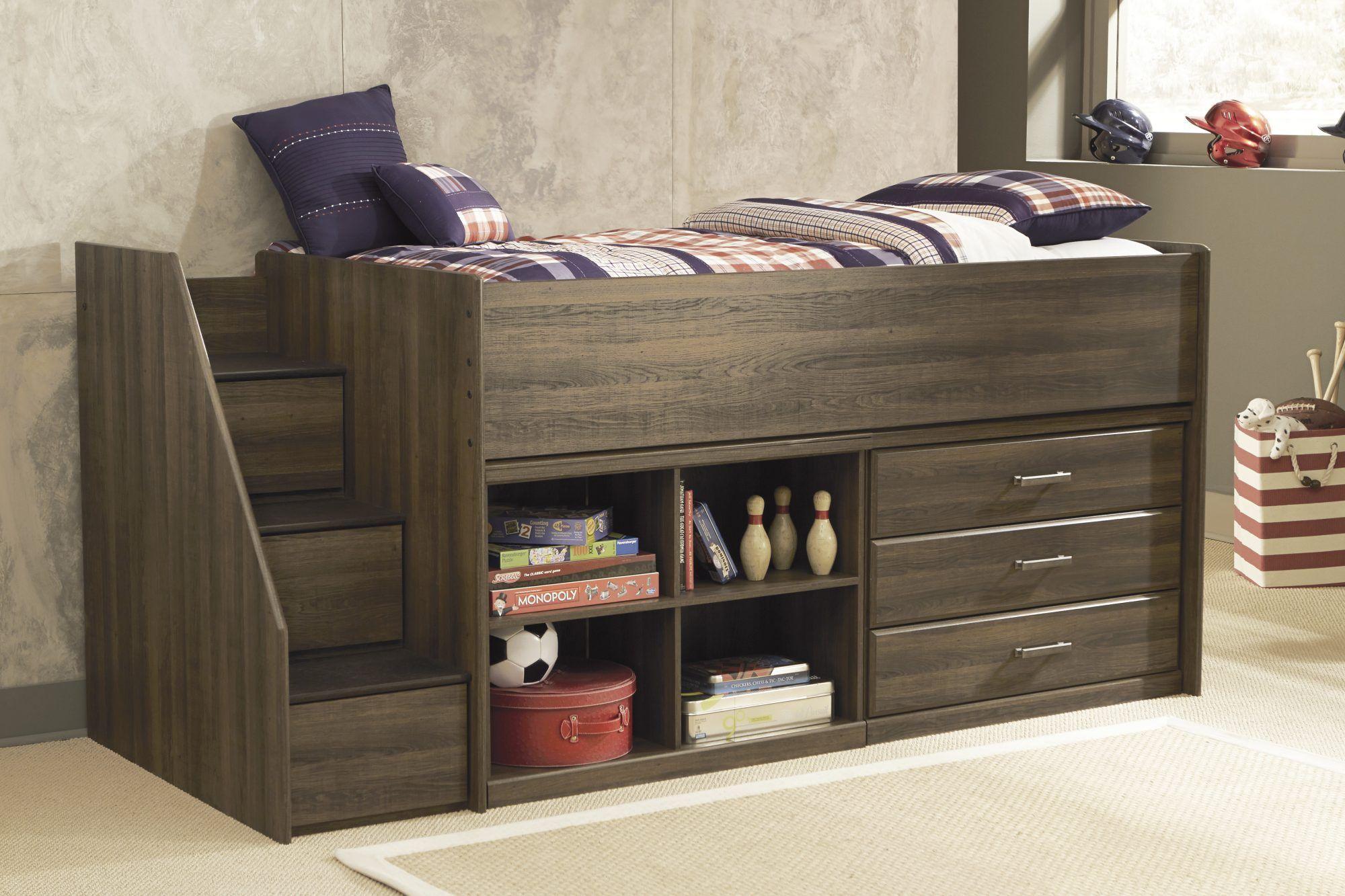 Twin low loft bed with slide  Frames u Rails Juararo u Dark Brown u Twin Loft Bed  Youth by JR