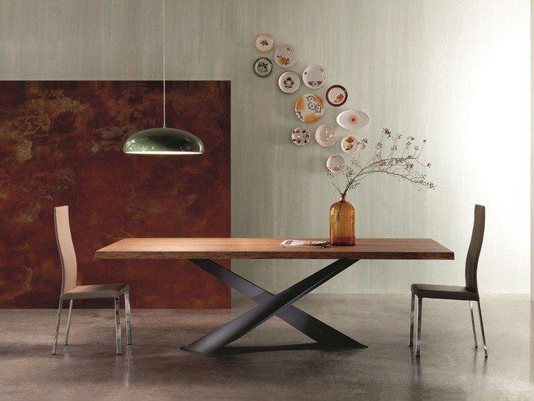 Favorit Table à manger en bois naturel à pieds croisés en acier de design  YM46