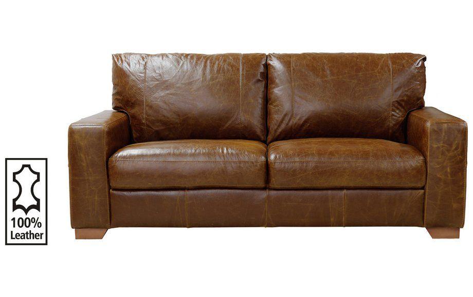 Home Eton 3 Seater Leather Sofa Tan
