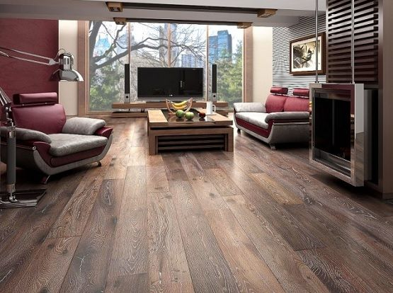 Perfect Living Room With Rustic Hardwood Flooring