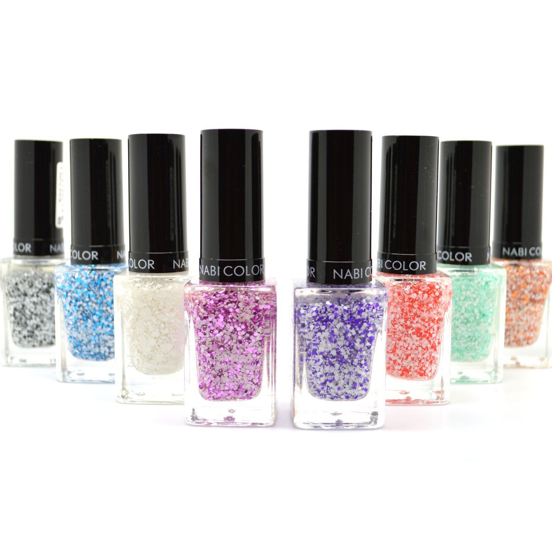8 new full nabi flake glitter colors polish lacquer