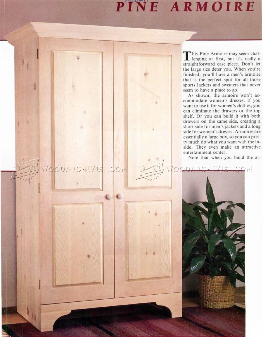 wood archivist basic pine armoire | furniture | armoire, furniture