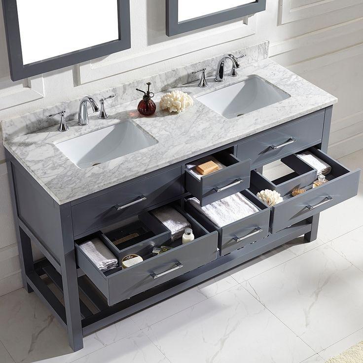 Caroline Estate 60 Inch Grey Square Double Sink Italian White