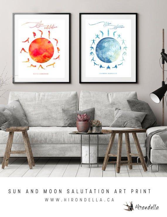Sun and Moon Salutation Yoga Boho Decor, yoga pose poster ...
