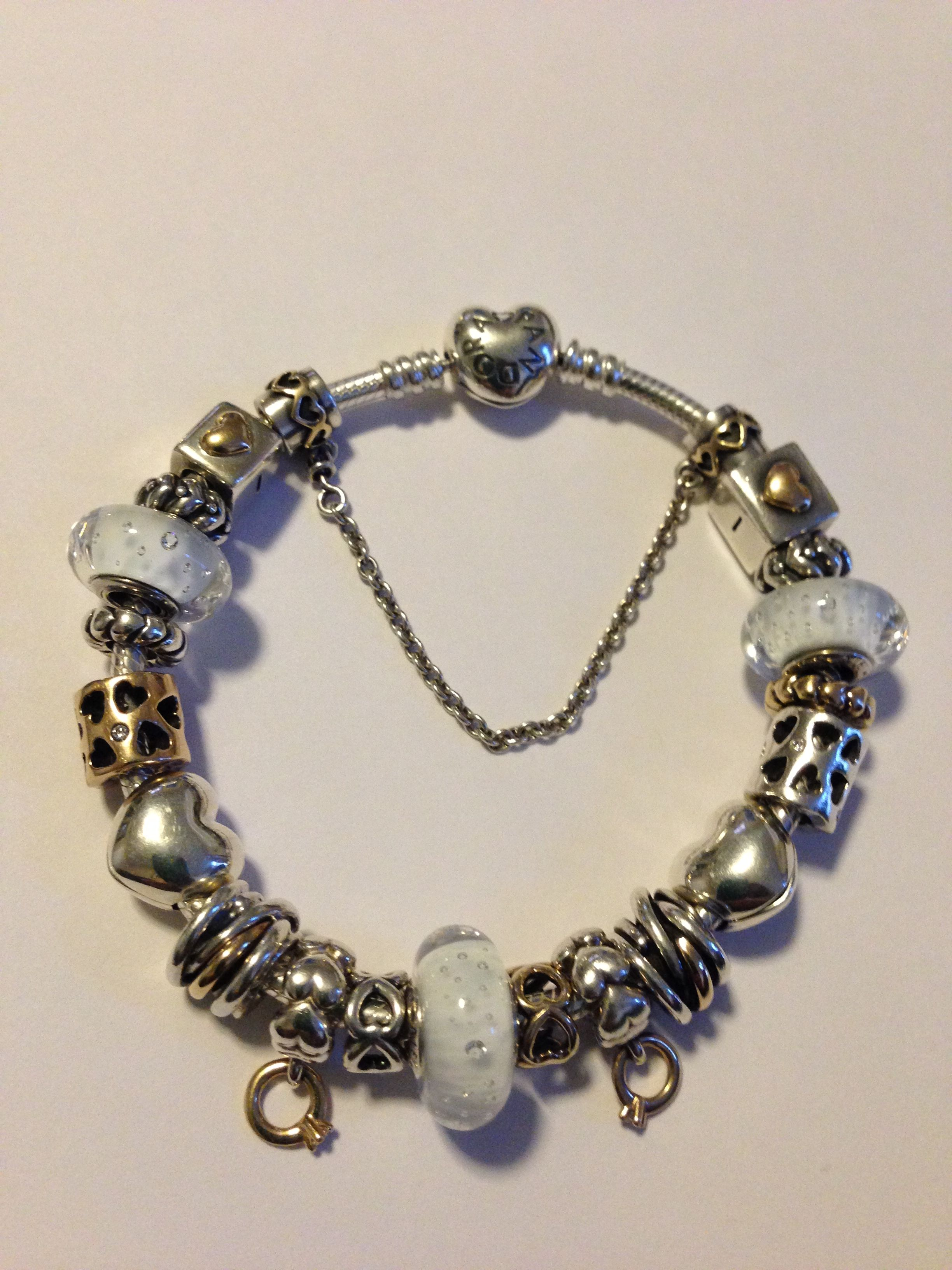 ac95d4dd3 My hearts and love, clear effervescence Murano glass charms Pandora bracelet.  by Nicole