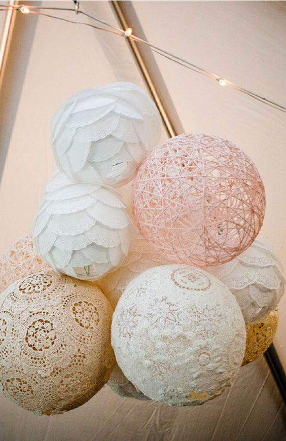 Vintage Inspired Diy Wedding Paper Lanterns Made From Coffee Filters Yarn Lace Doilies